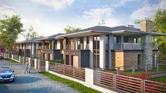 """2nd stage of Kakolowa Aleja Housing Estate in Aleksandrow Lodzki near Lodz / Drugi etap realizacyjny osiedla """"Kąkolowa Aleja"""". Projekt wykonawczy zespołu budynków mieszkalnych jednorodzinnych w zabudowie bliźniaczej dotyczył dwóch kolejnych budynków, po cztery apartamenty w każdym. Budynki zrealizowano w 2014 roku."""