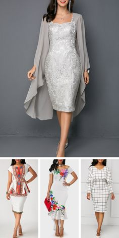 Open Front Top and Tie Back Sleeveless Sheath Dress - Style - Summer Dress Outfits Chiffon Evening Dresses, Formal Evening Dresses, Elegant Dresses, White Dresses For Women, Summer Dress Outfits, Groom Dress, The Dress, Women's Fashion Dresses, Homecoming Dresses