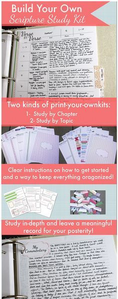 to build your own scripture study kit! Build your own scripture study kit! There are two kind - study by chapter or study by topic! And you can just print them! Bible Study Tips, Scripture Study, Bible Lessons, Scripture Journal, Bible Study Crafts, Prayer Journal Printable, Scripture Crafts, Family Bible Study, Printable Scripture