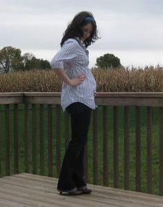 #DIY #Maternity shirt from a men's shirt -- great #upcycle project from things you might already have around the house, so you don't have to purchase expensive maternity clothes.