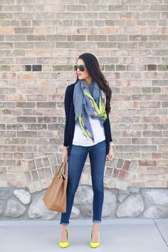 Business casual work outfit: navy cardi, white tee, skinny jeans, colorful scarf & matching heels. I'd go with much more muted colors. Good for spring/summer workwear.