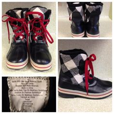 Merona Duck Boots Blk & Wht Buffalo Check Plaid 10 Worn twice. Winter boots. Have a similar style as duck boots. One lace has some wear. These are all man made material. Seem to run true to size. 9.5-10. Marked size 10. 8 inch tall. 1 inch heel. Merona Shoes Winter & Rain Boots