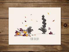 #Postkarte Für Dich mit #Igeln Helmut und Frodewin. #Freundschaft