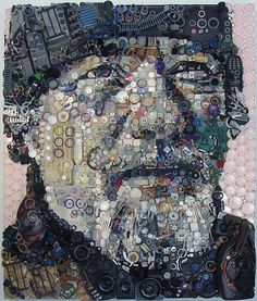 Zac Freeman is a leading Assemblage Artist who repurposes found objects to capture cultural bits of history in his contemporary artworks (also called Junk Art – Recycled Art – Environmental Art – Assemblage Art – Art From Waste – Plastic Art). Collages, Collage Art, Family Collage, Art Altéré, 2d Art, L'art Du Portrait, Mosaic Portrait, Trash Art, Junk Art