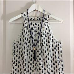 J. Crew NWT Halter Dress white & navy print-100 % polyester-fully lined J. Crew Dresses Midi