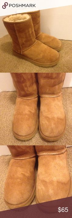 UGG Boots Size 7 In good used condition Ugg boots size 7 has water stains on both the front of the boots and a few small stains as seen in the pictures otherwise they still have lots of life left UGG Shoes