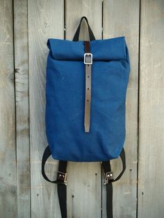 Blue Japanese Canvas Rolltop Backpack by Hedj on Etsy