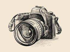 Camera Sketches, Camera Drawing, Camera Art, Black Pen Drawing, Black And White Art Drawing, Black And Grey Tattoos, Art Drawings Sketches Simple, Pencil Art Drawings, Kamera Tattoos
