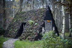"""Turf a-frame in Ansen, Netherlands."""" – Cabin Porn™ via Turf a-frame in Ansen, Netherlands A Frame Cabin, A Frame House, Hobbit House Kit, Natural Building, Cabins And Cottages, House Roof, Cabins In The Woods, Little Houses, Beautiful Space"""