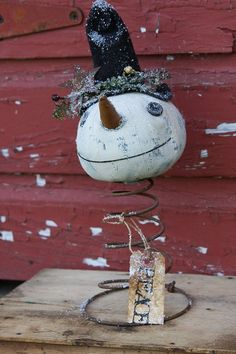 Primitive Snowman Pattern Folk Art Make Do Peace. $8.00, via Etsy.