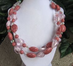 Pink hearts double chunk necklace