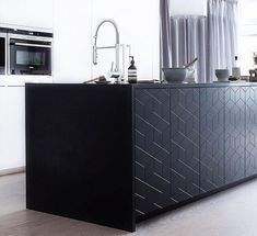 ・・・ Pitch Black kitchen island in Illusion pattern, built on the Ikea Metod kitchen system. So nice to let the stone top contiue down on the sides of the island. Kitchen Interior, Kitchen Decor, Kitchen Design, Kitchen On A Budget, New Kitchen, Black Kitchens, Home Kitchens, Ikea Metod Kitchen, Hacks Ikea