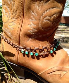 Jade Green Rhinestones and Copper Boot Bling! Its adjustable up to 15 inches and fits most womens cowboy boots. It will be packaged in a cute