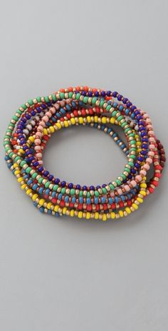 seed beads- cute, simple stretchy bangles, definitely cute stacked in multiples.