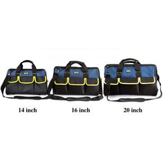 "Tool Bag  Portable Multi-purpose  Double-sided Tote Bucket Organizer with Strap Pocket Oxford Blue Black Large 14"" 16"" 20"""