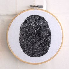 """Hand stitched fingerprint. Modern embroidery hoop art, 5"""". by TheNaughtyKnotter on Etsy https://www.etsy.com/listing/289032325/hand-stitched-fingerprint-modern"""