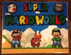 Super Mario World - Perler bead sprites on canvas by cakesmj
