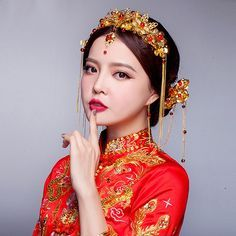Buy ChinBuy Chinese wedding bridal headdress xiu bride dress costume headdressese wedding bridal headdress xiu bride dress costume headdress | Makeup Trends Bridal Headdress, Headpiece Wedding, Bridal Hair, Bridal Makeup For Brunettes, Asian Bridal Makeup, Red Hair Makeup, Brunette Makeup, Bride Costume, Costume Dress