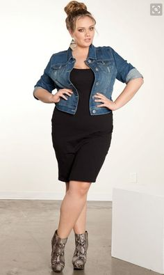 I like how this denim jacket looks over a black dress and ankle boots