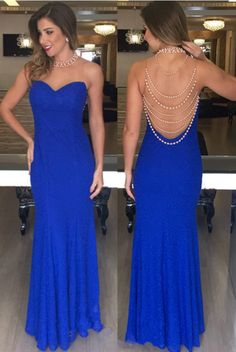 Open-Back Mermaid Blue High-Neck Sleeveless Long Evening Dresses