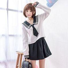 Moriville - Set: Sailor Collar Long-Sleeve Top + Check A-Line Skirt