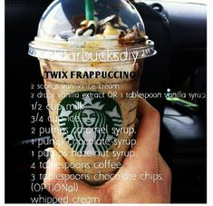 Starbucks diy Twix Frappuccino Starbucks diy Twix Frappuccino,Rezepte Sounds good without coffee Starbucks Diy, Starbucks Caramel Frappuccino, Starbucks Secret Menu Drinks, Homemade Starbucks Recipes, Homemade Frappe, Mocha Frappe Recipe, Frappuccino Recipe Without Coffee, Drink Recipes, Starbucks Recipes
