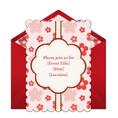 Customizable Red Flowers online invitations. Easy to personalize and send for a party. #punchbowl