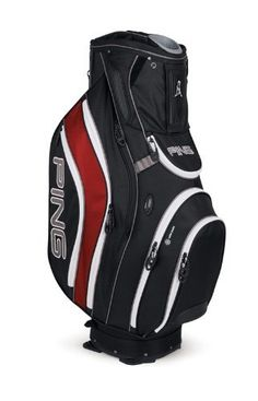 Ping 2012 Pioneer Golf Cart Bag (Black/Inferno) by Ping. $189.99. Known for making some of the best golf bags in the world, Ping has done it again with the 2012 Pioneer Golf Cart Bag. Weighs in at 7 pounds. This bag is designed for form and function. Has more than ample storage space (9 pockets), is built to last for years to come, and comes in a variety of colors. Has a 14-way reinforced top with individual full-length dividers, umbrella sleeve, rain hood, molded putt...