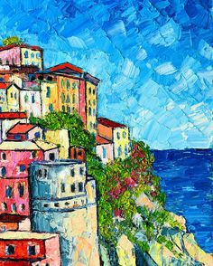 Cinque Terre Italy Manarola Painting Detail 3 Poster by Ana Maria Edulescu. All posters are professionally printed, packaged, and shipped within 3 - 4 business days. Choose from multiple sizes and hundreds of frame and mat options. Canvas Painting Quotes, Small Canvas Paintings, Oil Painting Abstract, Watercolor Paintings, Canvas Art, Italy Art, Italy Italy, Tuscany Italy, Italy Food