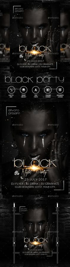 Black Night Flyer — Photoshop PSD #a4 #party • Download ➝ https://graphicriver.net/item/black-night-flyer/19282027?ref=pxcr