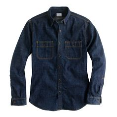 J Crew's got it just right. A denim shirt that's sharp and dark. Pair with darker jeans or chinos.