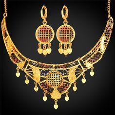 Net Necklace Bracelet Jewelry Sets Women Jewelry 18K Gold Plated Resizable Necklace Fashion Jewelry For Women