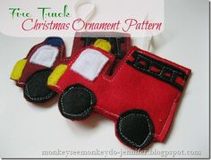 fire truck christmas ornament pattern by Monkey See Monkey Do.
