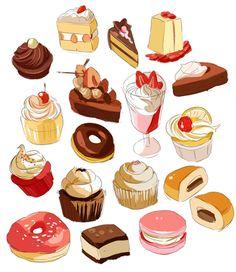 Cute Food Drawings Tumblr Cute Food Art, Love Food, Desserts Drawing, Chibi Kawaii, Food Sketch, Cake Sketch, Dessert Illustration, Foods With Iron, Cute Food Drawings