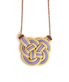 Knot Necklace, Khaki and Violet Cord, Rope Jewelry