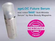 "ageLOC Future Serum was voted BEST ""Anti-Wrinkle Serum"" by New Beauty Magazine. Now available at Suzi's Salon and Spa Best Anti Wrinkle Serum, Best Serum, Nu Skin Ageloc, Beauty Lounge, Beauty Magazine, Health And Wellbeing, Anti Aging Skin Care, Face And Body, Beauty Care"