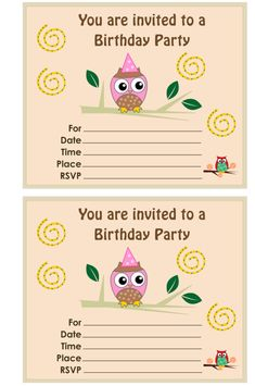 41 printable birthday party cards invitations for kids to make free printable owl birthday party invitations bookmarktalkfo Choice Image