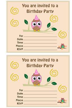 free printable owl birthday party invitations - Cool Owl Birthday Party Ideas – Home Party Theme Ideas Cars Birthday Invitations, Owl Birthday Parties, Free Printable Birthday Invitations, Party Invitations Kids, Birthday Ideas, Leo Birthday, Birthday Stuff, Invites, Party Ideas