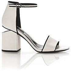 Alexander Wang Heels ($450) ❤ liked on Polyvore featuring shoes, sandals, heels, white, white strappy sandals, strappy leather sandals, strappy heeled sandals, white heeled sandals and white shoes