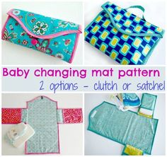 Baby changing mat pattern. How to sew a baby changing mat. Two different options from the same pattern. Satchel-style or clutch-style mat with pockets.