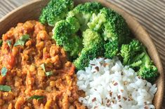 Buy Bowl of red lentil curry by on PhotoDune. Bowl of red lentil curry with white rice and broccoli Lentil Recipes, Vegan Recipes, Cooking Recipes, Slimming World Vegetarian Recipes, Vegetarian Meals, Lentil Curry, Batch Cooking, Recipe Collection, No Cook Meals