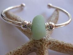 SS Cuff Bracelet  Sterling Silver Sea Glass by SamiSeaglass
