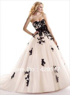 Custom 2014  Victorian  Big  Ball Gown Black Applique Cinderella  Fairy Tail  Luxury  Organza wedding dresses US $163.00