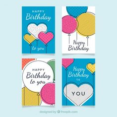 Hand drawn birthday cards Free Vector