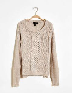 8€ pull maille tressée mouliné beige et blanc femme • Jennyfer