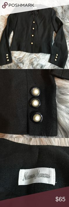 Vintage Neiman Marcus pearl gold button jacket In excellent condition, no flaws 100% linen Neiman Marcus Jackets & Coats Blazers