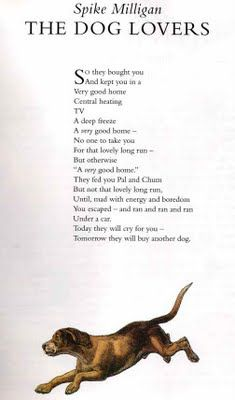 Spike Milligan - The Dog Lovers, so sad. Spike Milligan, Four Legged, Comedians, Cool Words, Dog Lovers, Literature, Poems, Cute Animals, Motivation