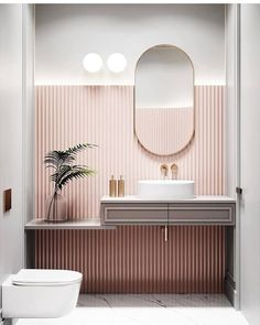 Pastel pink bathrooms, hot pink bathrooms, pink bathroom tiles, pink bathroom sets, pink basins and pink vanities. These pink bathroom ideas have it all & more. Bad Inspiration, Bathroom Inspiration, Interior Inspiration, Bathroom Inspo, Parisian Bathroom, Bathroom Ideas, Bathroom Designs, Toilet And Bathroom Design, Art Deco Bathroom