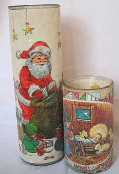 Glittery Frosted Glass Candles at Christmas - I remember these!.
