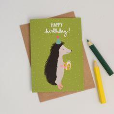 New to HannahStevensShop on Etsy: Hedgehog Birthday Card Party Hat Hedgehog British Wildlife Animal Birthday Card Illustrated Hedgehog Card Hand Lettered Birthday Card (2.50 GBP)